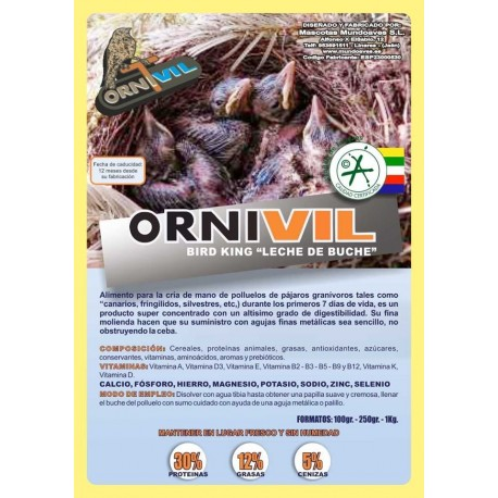 """ORNIVIL- BIRD KING """"LECHE DE BUCHE"""" 250GR"""